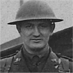 Photo of Ralph Douglas Reid – Wounded at Vimy, April 9, 1917, remained at duty. KIA at Lens, May 5, 1917. Image cropped from a vintage outdoor group portrait of original officers of the 85th Battalion, CEF, circa October 1916-February 1917