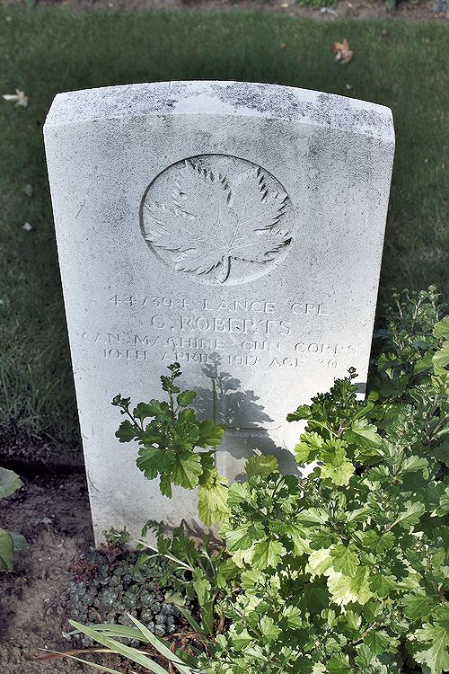 Cemetery – The grave marker at La Chaudiere Military Cemetery located at the foot of Vimy Ridge, very near the town of Vimy, France. The cemetery is 13 kilometres north of Arras, France. May he rest in peace. (John & Anne Stephens 2013)