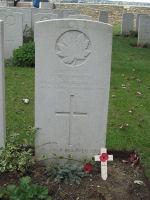 Grave Marker – Lt Simonds' grave at La Chaudiere Mil. Cem. Sept 2011