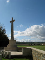 Cross of Sacrifice – View of Vimy Ridge Canadian memorial from La Chaudiere Mil Cem.