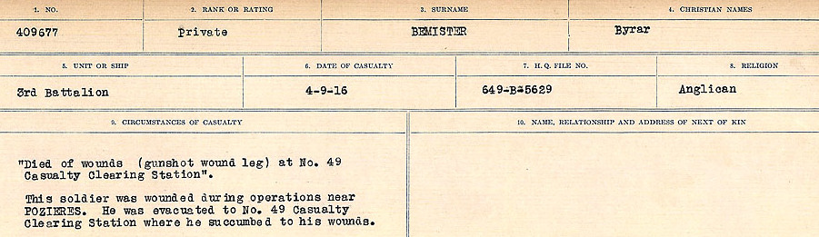 Circumstances of Death – Source: Library and Archives Canada.  CIRCUMSTANCES OF DEATH REGISTERS FIRST WORLD WAR Surnames:  Bell to Bernaquez.  Mircoform Sequence 8; Volume Number 31829_B016718; Reference RG150, 1992-93/314, 152 Page 331 of 670.
