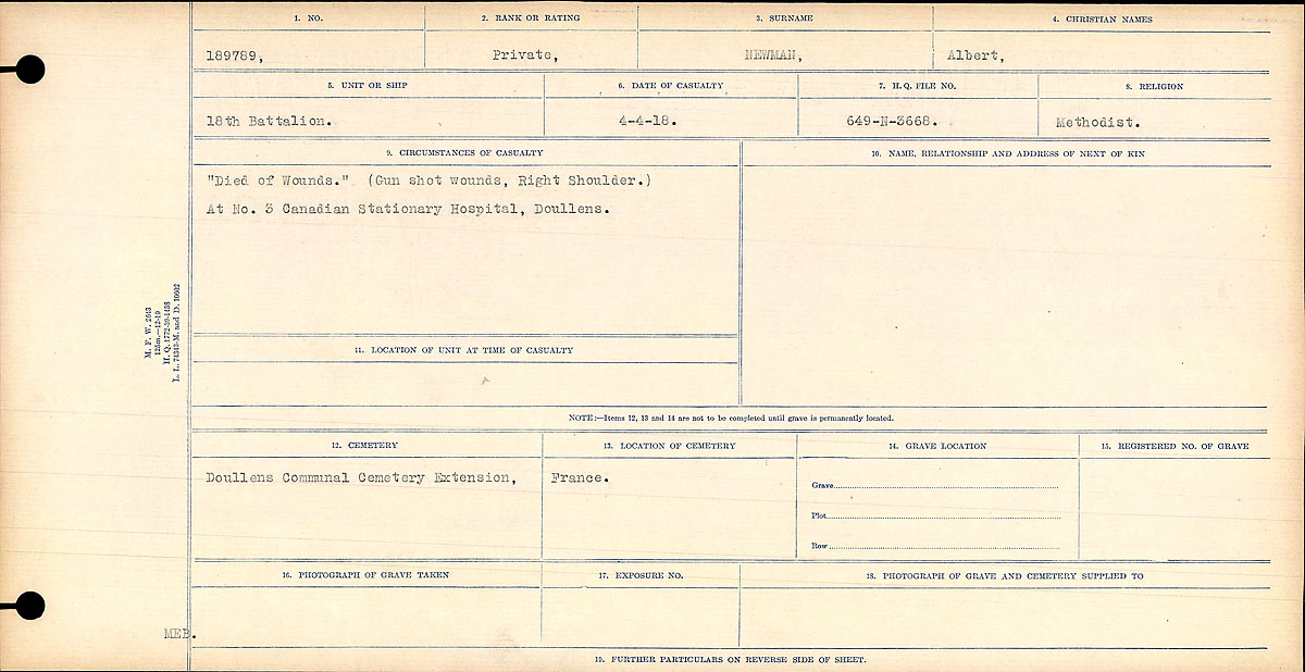 """Circumstances of Death Registers – Circumstances of Death Register: """"Died of Wounds."""" (Gun shot Wounds, Right Shoulder.) No. 3 Canadian Stationary Hospital, Doullens."""