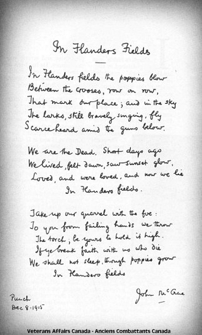 Le poème « In Flanders Fields »