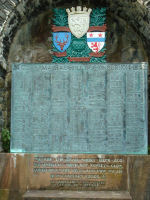 "Memorial – The Clan MacRae Honour Roll, located at Eilean Donan Castle, the home of the Clan Macrae, near the town of Dornie on Loch Duich in Western Scotland; listing Lieutenant Colonel McCrae's name (column 5, 14th name from bottom) and including a quote from his poem ""In Flanders Fields."""