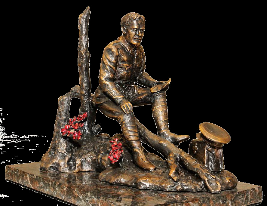 Statue – A sculpture of Lieutenant-Colonel John McCrae, by Ruth Abernathy, was unveiled at Green Island, Ottawa, Ontario in May 2015. A copy was erected at the Guelph Civic Museum in Guelph, Ontario in 2015. The sculpture is of Lieutenant-Colonel John McCrae, with his dress as an Artillery officer and his medical bag nearby, as he writes. The statue shows the destruction of the battlefield and, at his feet, the poppies which are a symbol of Remembrance of World War I and all armed conflict since.