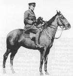Bonfire – John McCrae with his horse Bonfire, (photo: McCrae House).   In France, he took with him a horse named Bonfire, a gift from a friend.  Later, John McCrae sent his young nieces and nephews letters supposedly written by Bonfire and signed with a hoof print.