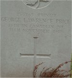 Grave Marker – Grave marker of G.L. Price located in the St Symphorien Cemetery in Belgium.