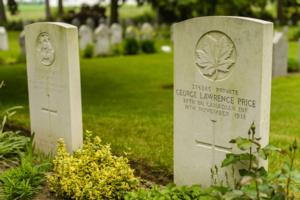 Grave Marker – George Lawrence Price gravestone in Saint Symphorien Military Cemetery in Mons, Belgium. Price was initially buried in the village of Havré near Mons, in the Havre Old Communal Cemetery and later transferred to his final resting place.