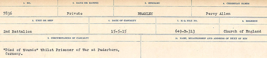 Circumstances of Death Registers – Source: Library and Archives Canada.  CIRCUMSTANCES OF DEATH REGISTERS FIRST WORLD WAR Surnames: Brabant to Britton. Mircoform Sequence 13; Volume Number 131829_B016722; Reference RG150, 1992-93/314, 157 Page 235 of 906