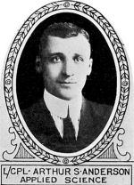 Photo of Arthur Anderson – From: The Varsity Magazine Supplement published by The Students Administrative Council, University of Toronto 1918.  Submitted for the Soldiers' Tower Committee, University of Toronto, by Operation Picture Me.