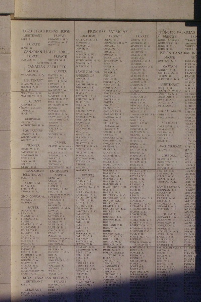 Memorial – Panel 10 of the Menin Gate - August 2012 … photo courtesy of Marg Liessens