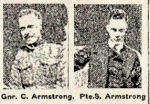 Newspaper Clipping – Pte. Sidney Herbert Armstrong enlisted in Toronto in February 1915.  His brother, Gnr. Clifford Emmons Armstrong, 91622, C.F.A., enlisted in Toronto in August 1915.  He died on August 3rd, 1917.  The Armstrong brothers were born in Toronto.  In honoured memory.