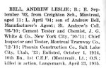 """Andrew Leslie Bell – From """"The War Book of Upper Canada College"""" edited by Archibald Hope Young, Toronto, 1923.  This book is a Roll of Honour including former students who served during WW1. Andrew Leslie Bell entered UCC in September 1902."""