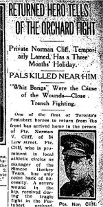 Newspaper Clipping – Article from the Toronto Star for 1 September 1915 referring to the death of Private Bickerstaff.
