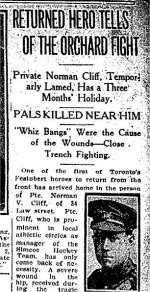 Newspaper Clipping – Article from the Toronto Star for 1 September 1915 referring to the death of Ross Binkley.