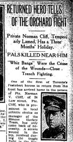 Newspaper Clipping – Article from the Toronto Star for 1 September 1915 referring to the death of Deric Broughall.