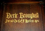 Memorial – A detail of the memorial panel dedicated to Pte. Deric Broughall.  Located in the St. Thomas Church Baptistry, Toronto, Ontario.