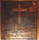 Plaque – A special memorial panel dedicated to Pte. Deric Broughall.  Located in St. Thomas Church, Toronto, Ontario.
