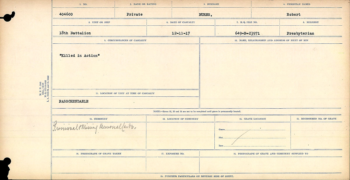 """Circumstances of Death Registers – Circumstances of Death Register: """"Killed in Action""""  Mikan record:46246 Volume Number:31829_B016725 Page:1 Number of pages:926 Contributed by E.Edwards www.18thbattalioncef.wordpress.com"""