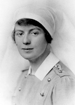 """Frances Collyer, Sister of Charles Collyer – Nursing Sister Lt. Frances Collyer, RN.  Enlisted in the No. 10 Canadian Stationary Hospital, CEF, in London, ON on May 23, 1916 and appointed to commissioned rank in the Canadian Army Medical Corps.  Arrived in England July 5, 1916, a month after her brother Charles' death at Sanctuary Wood.  Served in England and France, including Folkestone and Le Tréport.  (Certificate of Service notes """"Westcliffe, Eye and Ear Hospital, Ont. Military Hospital, Orpington, CAMC Cas. Coy. Shorncliffe."""")  Demobilized June 20, 1919.  Portrait by Swaine, London, England."""