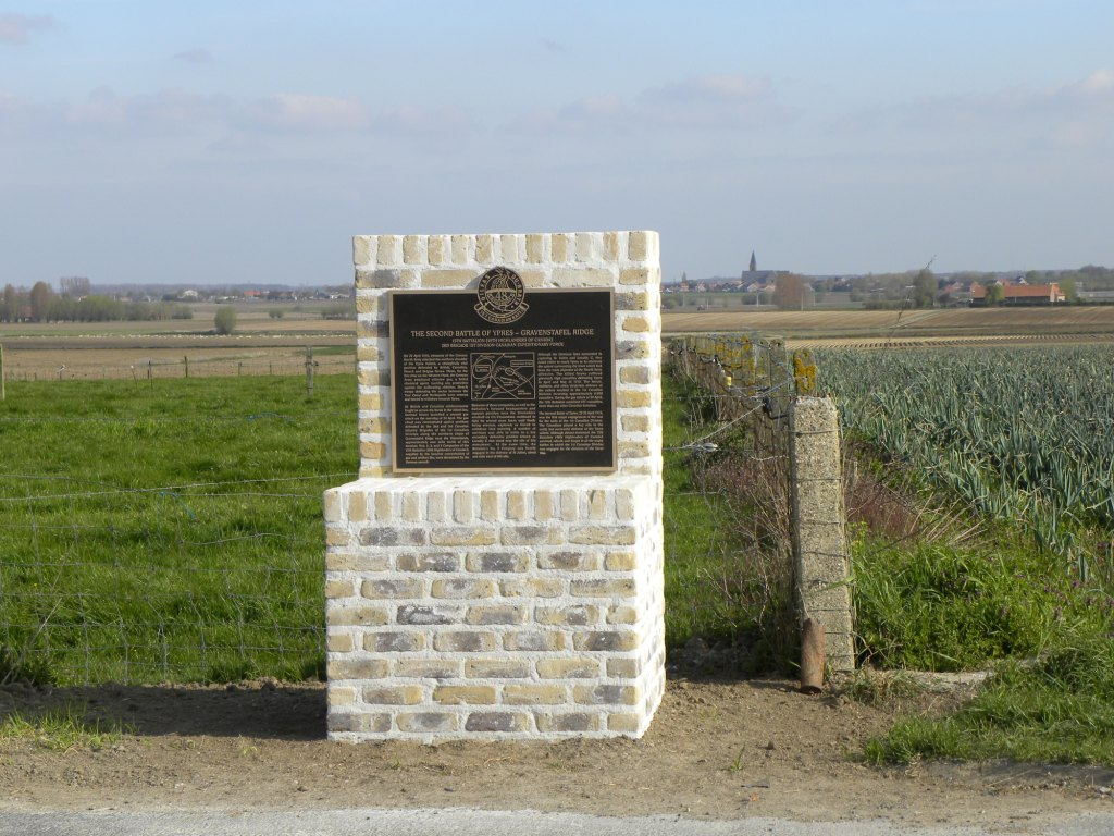 Battalion Memorial – 15th Bn Memorial on Gravenstafel Ridge (2nd Ypres). Photo by BGen (ret'd) G. Young, submitted by Capt (ret'd) V. Goldman 15th Bn Memorial Project.  DILEAS GU BRATH