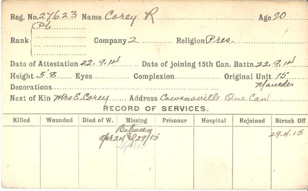 Record of Service – Record of Service Card (front side).  Courtesy 48th Highlanders of Canada Regimental Museum.  Submitted by 15th Bn Memorial Project Team.  DILEAS GU BRATH