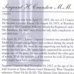 Memorial Page – Harry Cranston is honoured on page 9 of the Merrickville Remembers booklet, published in January 2003.