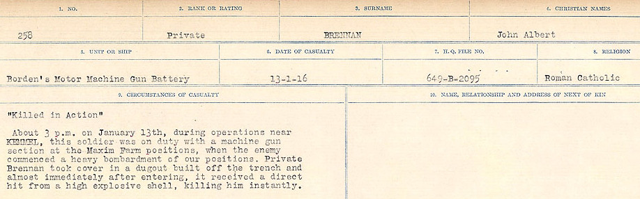 Circumstance of death – Source: Library and Archives Canada.  CIRCUMSTANCES OF DEATH REGISTERS FIRST WORLD WAR Surnames: Brabant to Britton. Mircoform Sequence 13; Volume Number 131829_B016722; Reference RG150, 1992-93/314, 157 Page 473 of 906