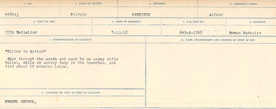 Circumstances of Death Registers – Source: Library and Archives Canada.  CIRCUMSTANCES OF DEATH REGISTERS, FIRST WORLD WAR Surnames:  Canavan to Caswell. Microform Sequence 18; Volume Number 31829_B016727. Reference RG150, 1992-93/314, 162.  Page 475 of 1004.