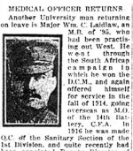 Newspaper Clipping – Pte. Henry Douglas Laidlaw, who was killed in action, is mentioned in this article about his brother.