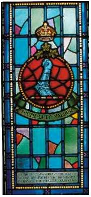 Memorial Stained Glass – Ex-cadets are named on the Memorial Arch at the Royal Military College of Canada in Kingston, Ontario and in memorial stained glass windows to fallen comrades.