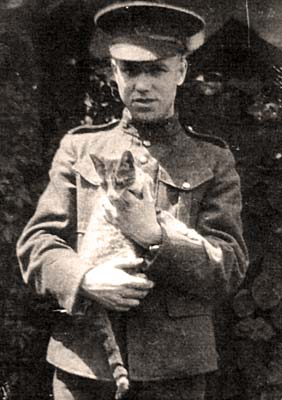 William Redver Stark with cat. Courtesy of Veterans Affairs Canada.