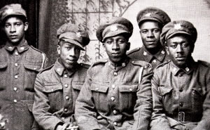 Five soldiers in uniform