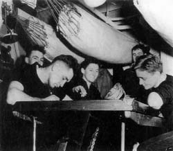 Sailors relaxing in crew's mess