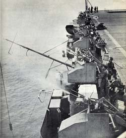 Anti-aircraft guns (Oerlikons) being fired