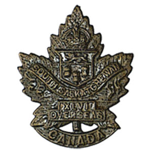 Cap badge of the 46th Canadian Infantry Battalion,  Canadian Expeditionary Force.  Photo: Garth Chorney, Port Moody BC
