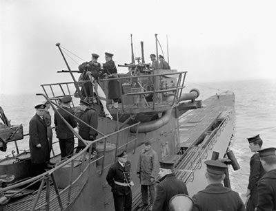 A number of German U-boats, including U-130 shown here off the coast of Nova Scotia, surrendered to the RCN after the war in Europe ended in May 1945.