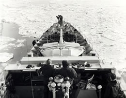 HMCS Sioux in ice field during patrol off Korean coast. February 1952.