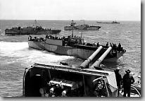 Large infantry landing craft off the stern of HMCS Prince David, D-Day.