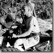 Gunner working sights of 25 pounder in Sicily
