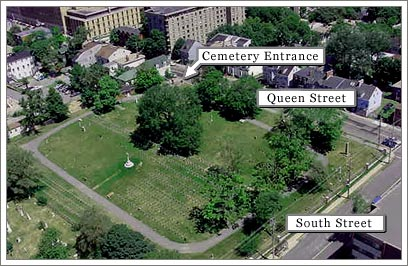 An aerial photograph of Fort Massey Cemetery in relation to Queen Street and South Street in Halifax, Nova Scotia, Canada