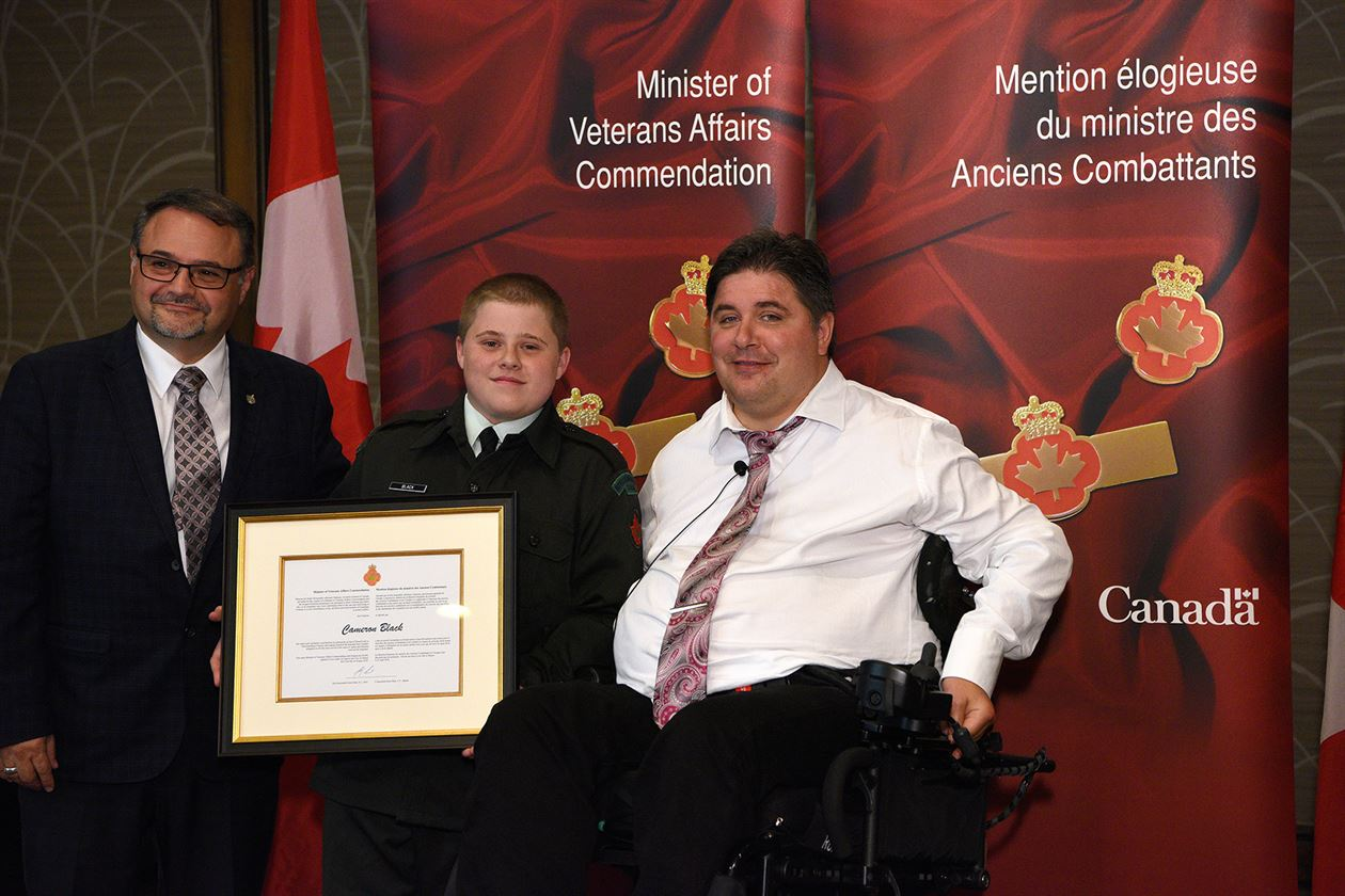 The honorable Kent Hehr, Minister for Veterans Affairs, Mr. Cameron Black, and Dan Ruimy, Member of Parliament for Pitt Meadows—Maple Ridge.