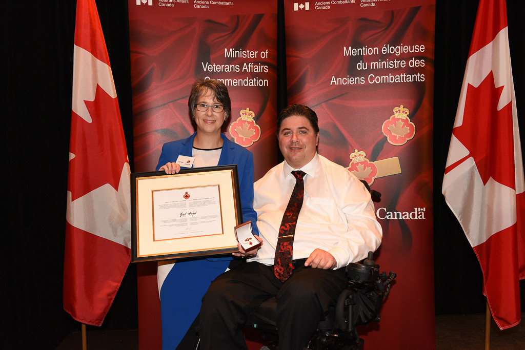 The honorable Kent Hehr, Minister for Veterans Affairs, and Gail Angel