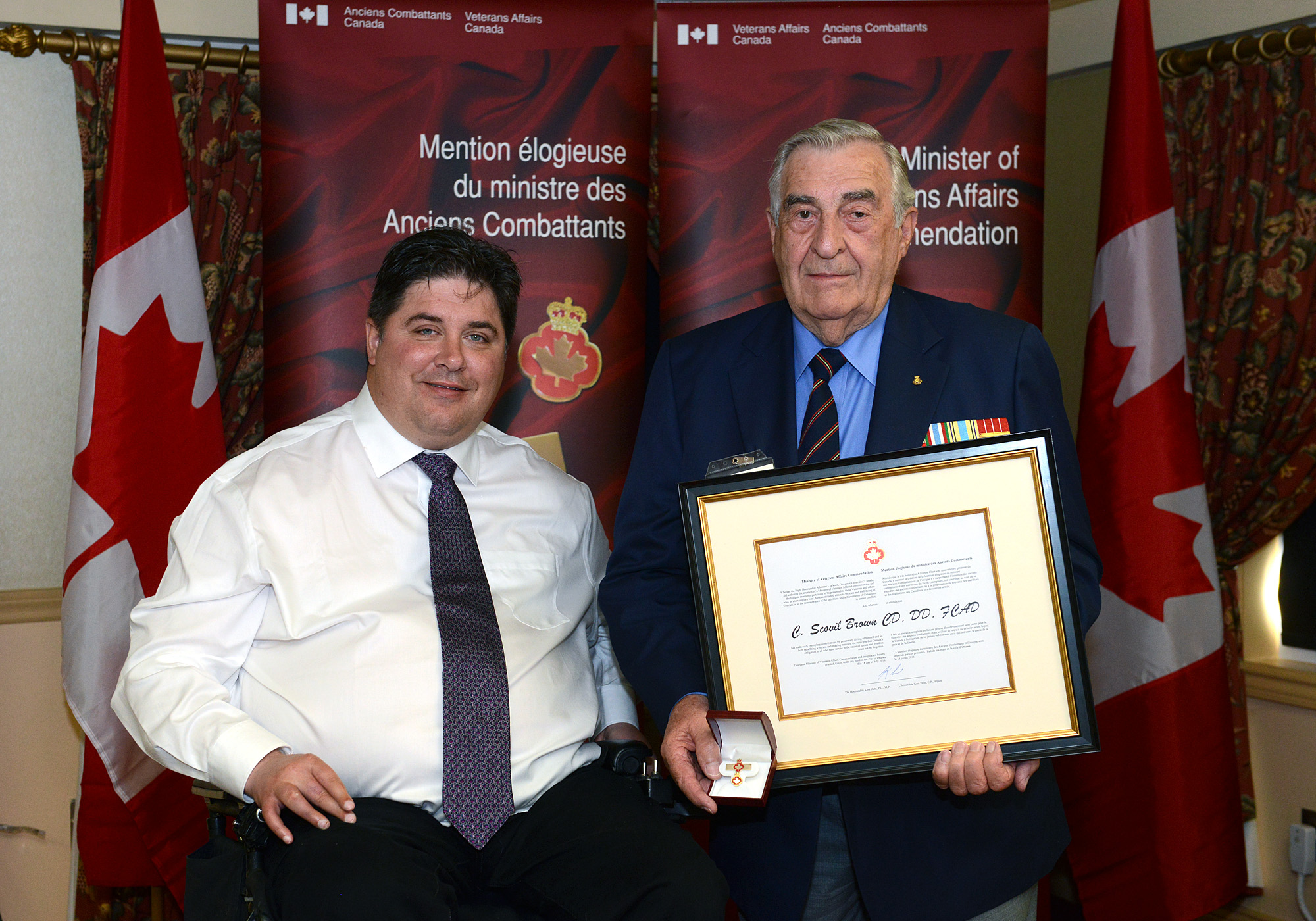The honorable Kent Hehr, Minister for Veterans Affairs and Mr. Carl Scovil Brown.