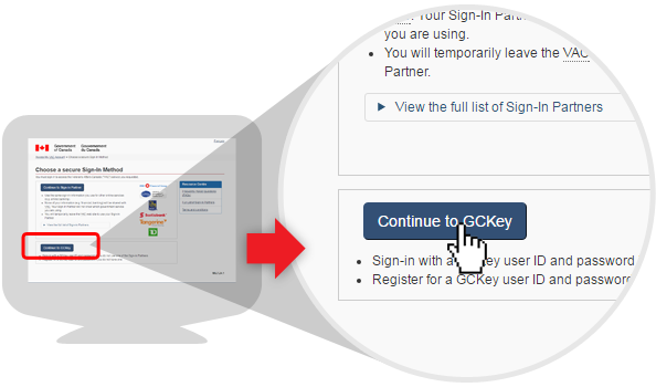 image of sign-in options page using the GCKey option
