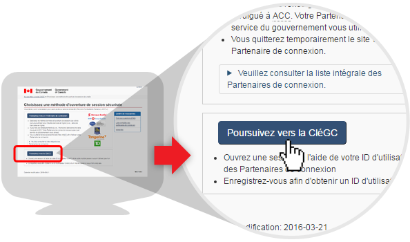 image d'options de connexion - l'option CléGC