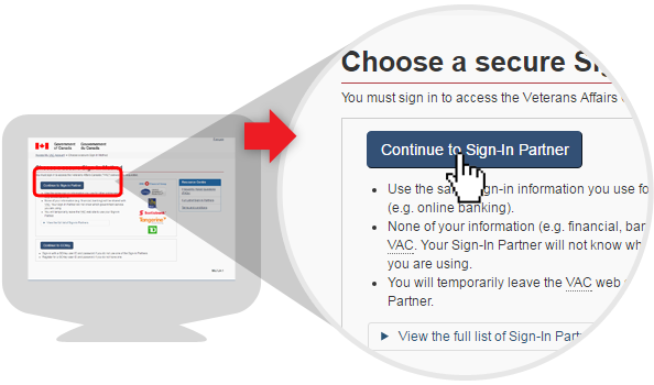 image of sign-in options page using the Sign-in Partner option