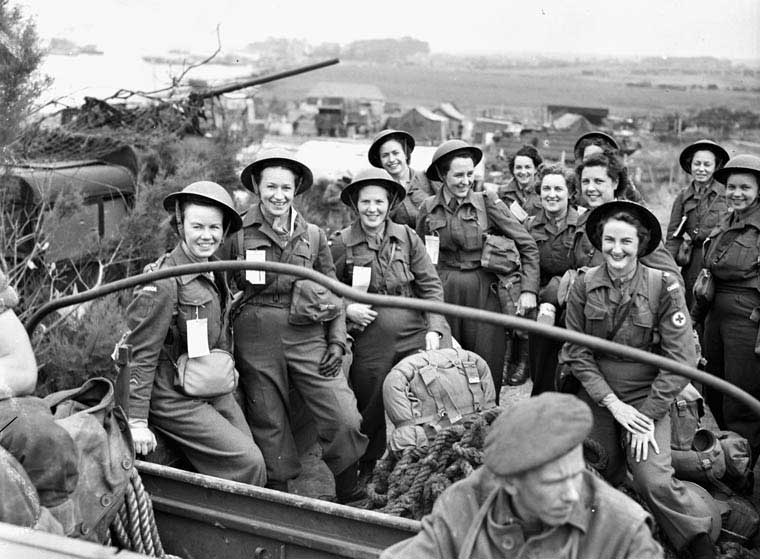 Canadian Nursing Sisters arriving in France during the Battle of Normandy in July 1944.