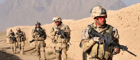 Soldiers from the Royal Canadian Regiment Battle Group on patrol in the Panjwa'i District of Kandahar Province.