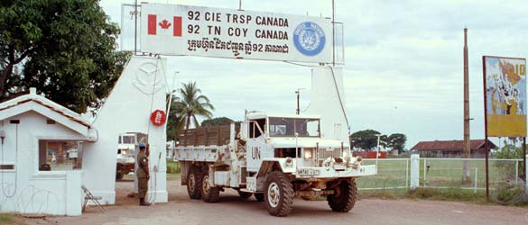 United Nations trucks leaving Canadian Armed Forces base in Cambodia
